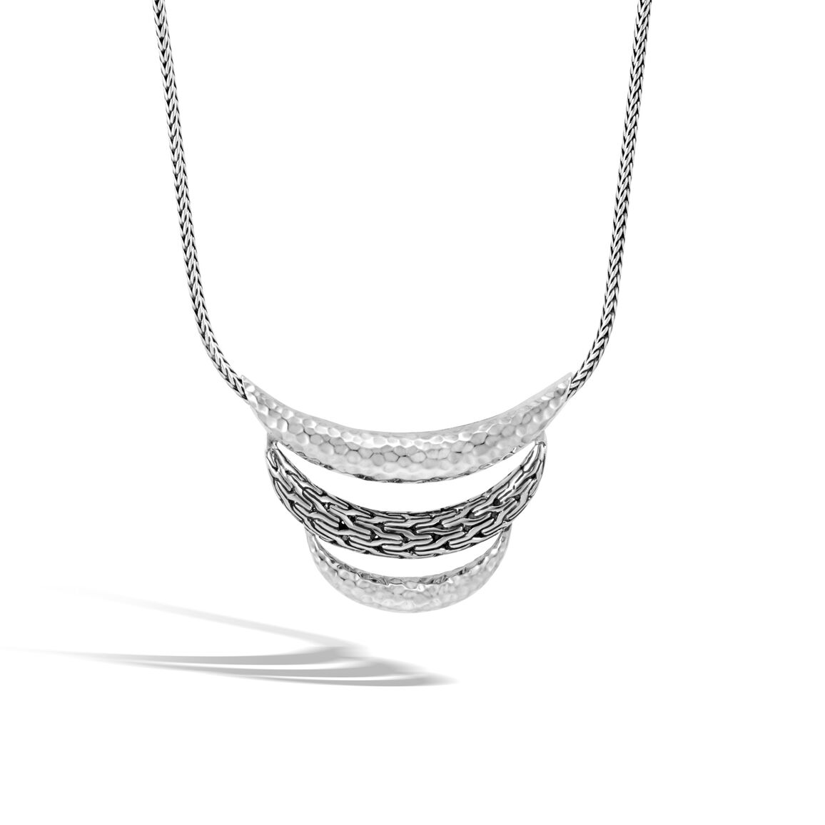 Classic Chain Bib Necklace in Hammered Silver