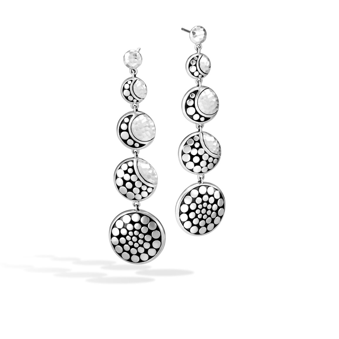 Dot Moon Phase Drop Earring in Hammered Silver