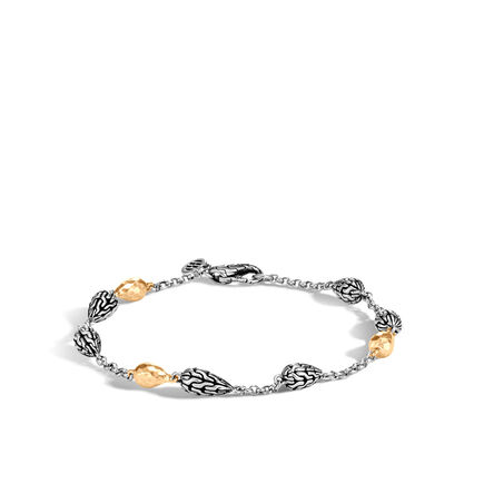 Classic Chain Station Bracelet, Silver and Hammered 18K Gold