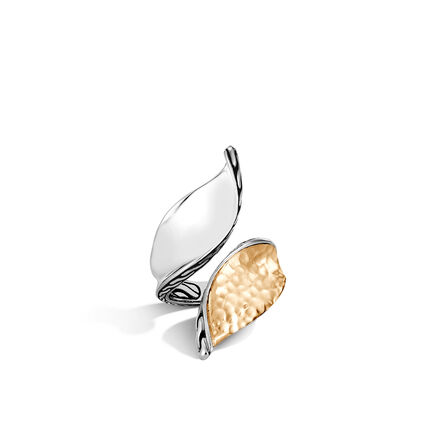 Classic Chain Wave Bypass Ring, Silver and Hammered 18K Gold