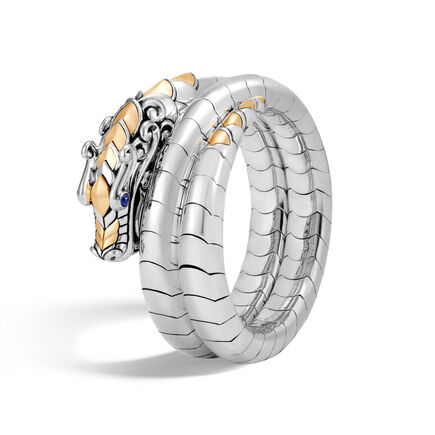 Legends Naga Double Coil Bracelet in Silver and 18K Gold