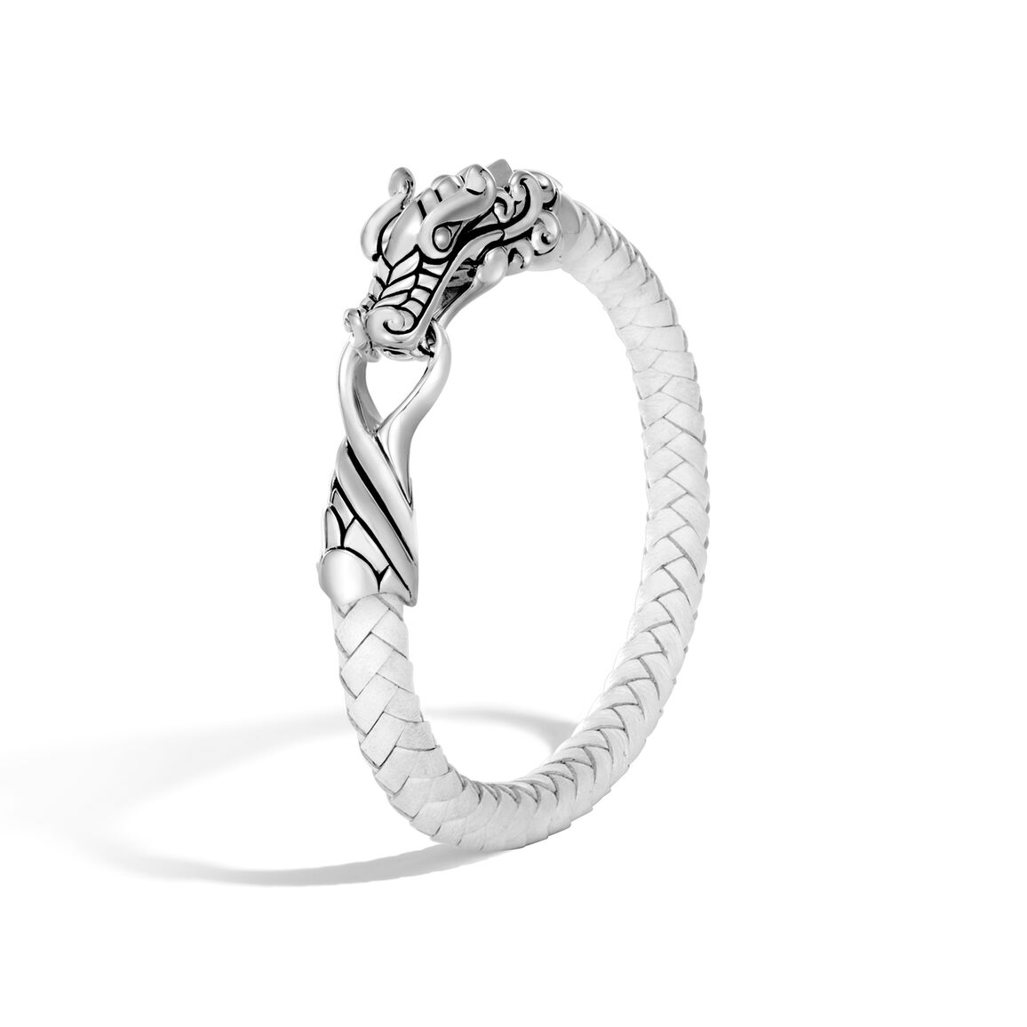 Legends Naga Bracelet in Silver with Leather