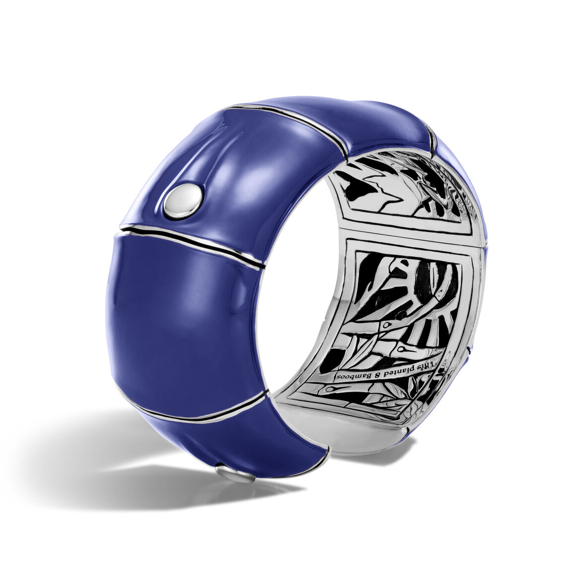 Bamboo 32MM Kick Cuff in Silver and Enamel