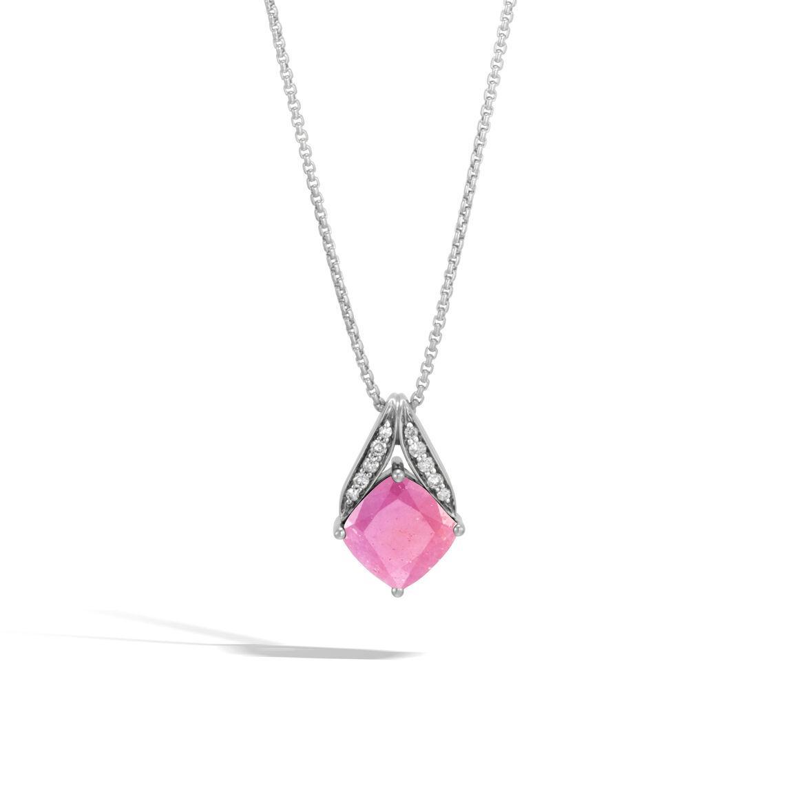 Modern Chain Magic Cut Pendant Necklace, Silver, Gems, Dia