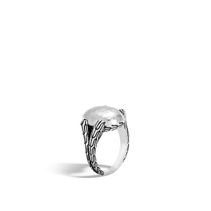 Classic Chain Ring in Hammered Silver