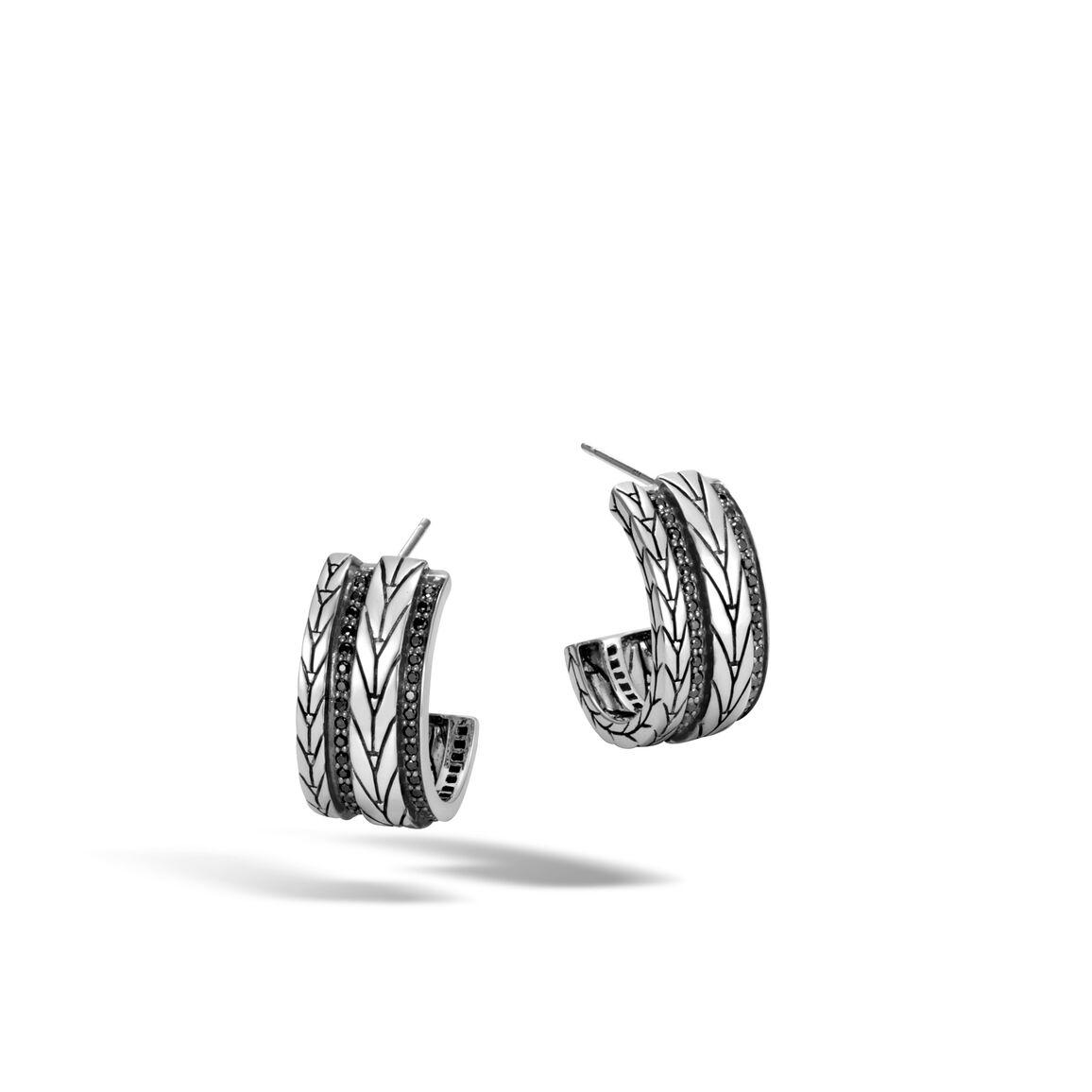 Modern Chain Small Hoop Earring with Gemstone