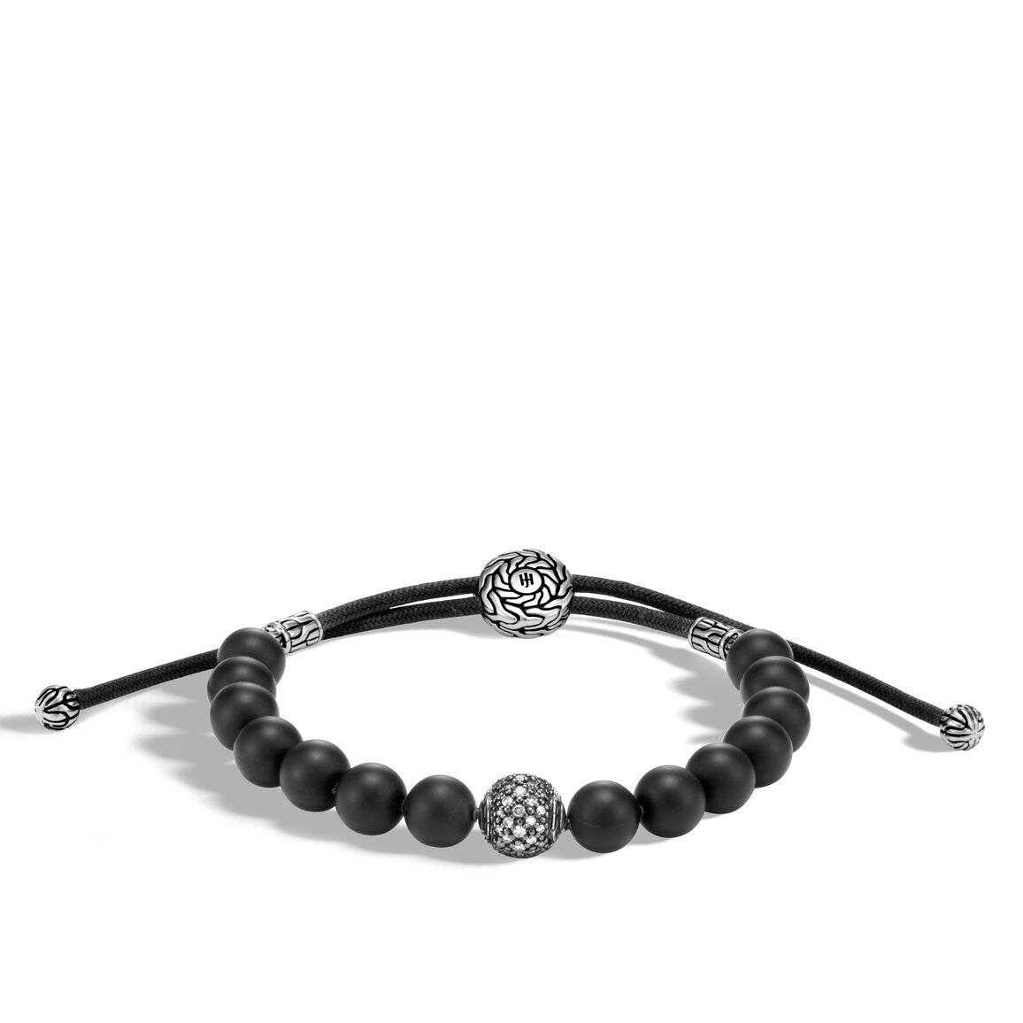 Classic Chain Bead Bracelet, Silver with Gemstone, Diamonds