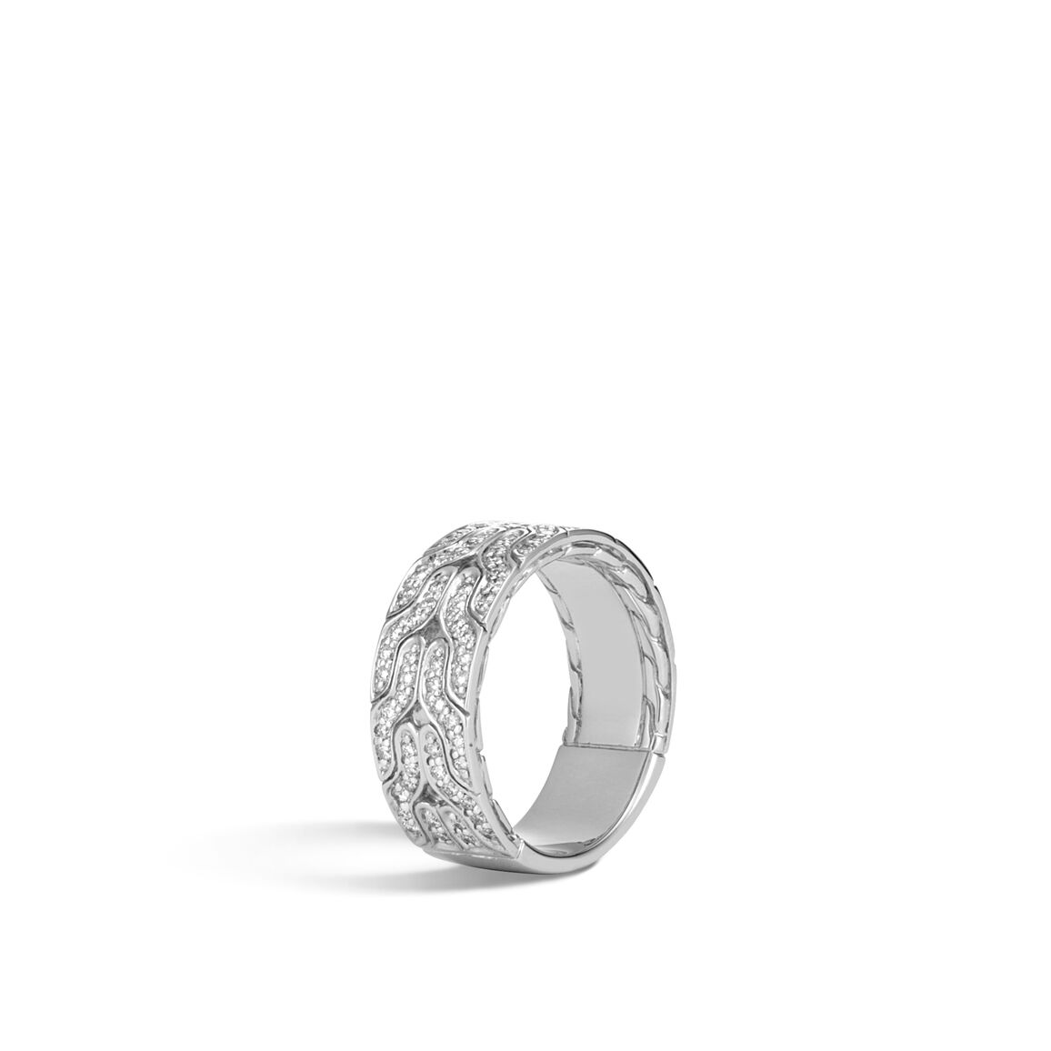 Classic Chain 8.5MM Band Ring in 18K White Gold, Diamonds