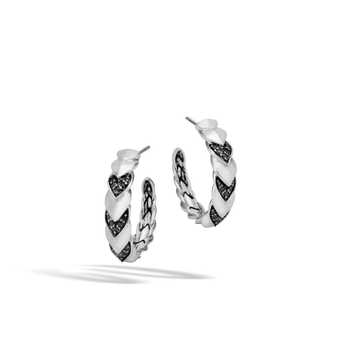 Legends Naga Small Hoop Earring in Silver with Gemstone