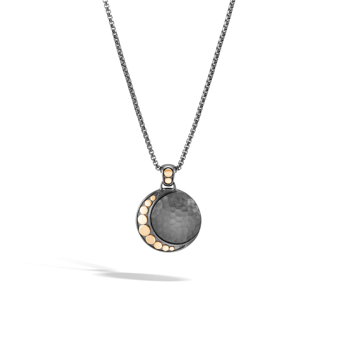 Dot Moon Phase Pendant Necklace, Black Hammered Silver, 18K