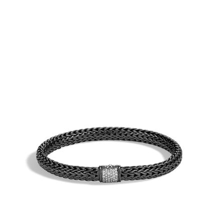 Classic Chain 6.5MM Bracelet, Blackened Silver with Diamonds