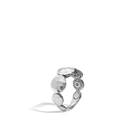 Dot 9MM Band Ring in Hammered Silver