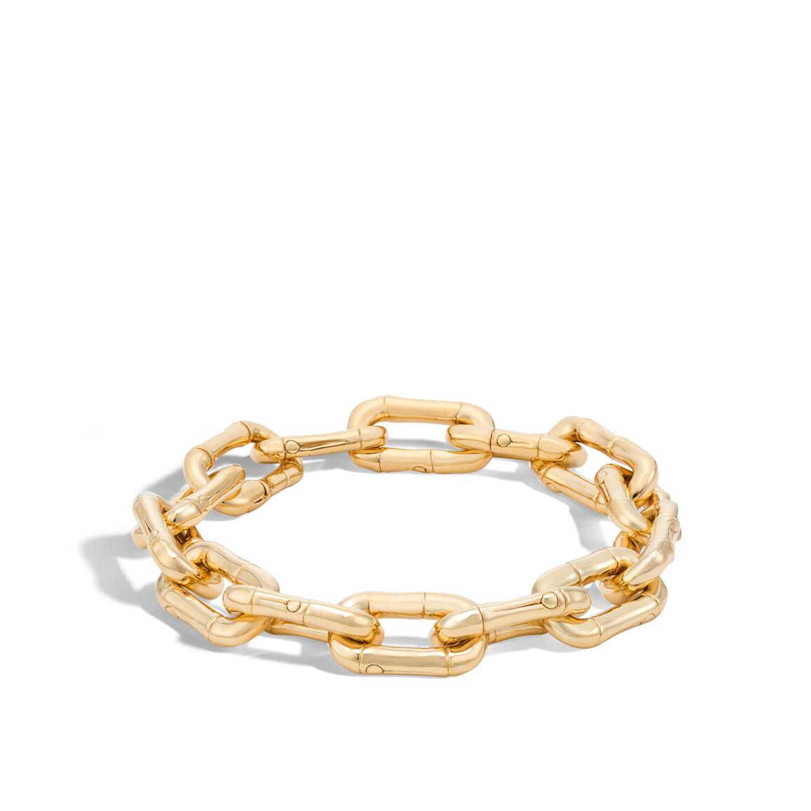 Bamboo 10.5MM Link Bracelet in 18K Gold