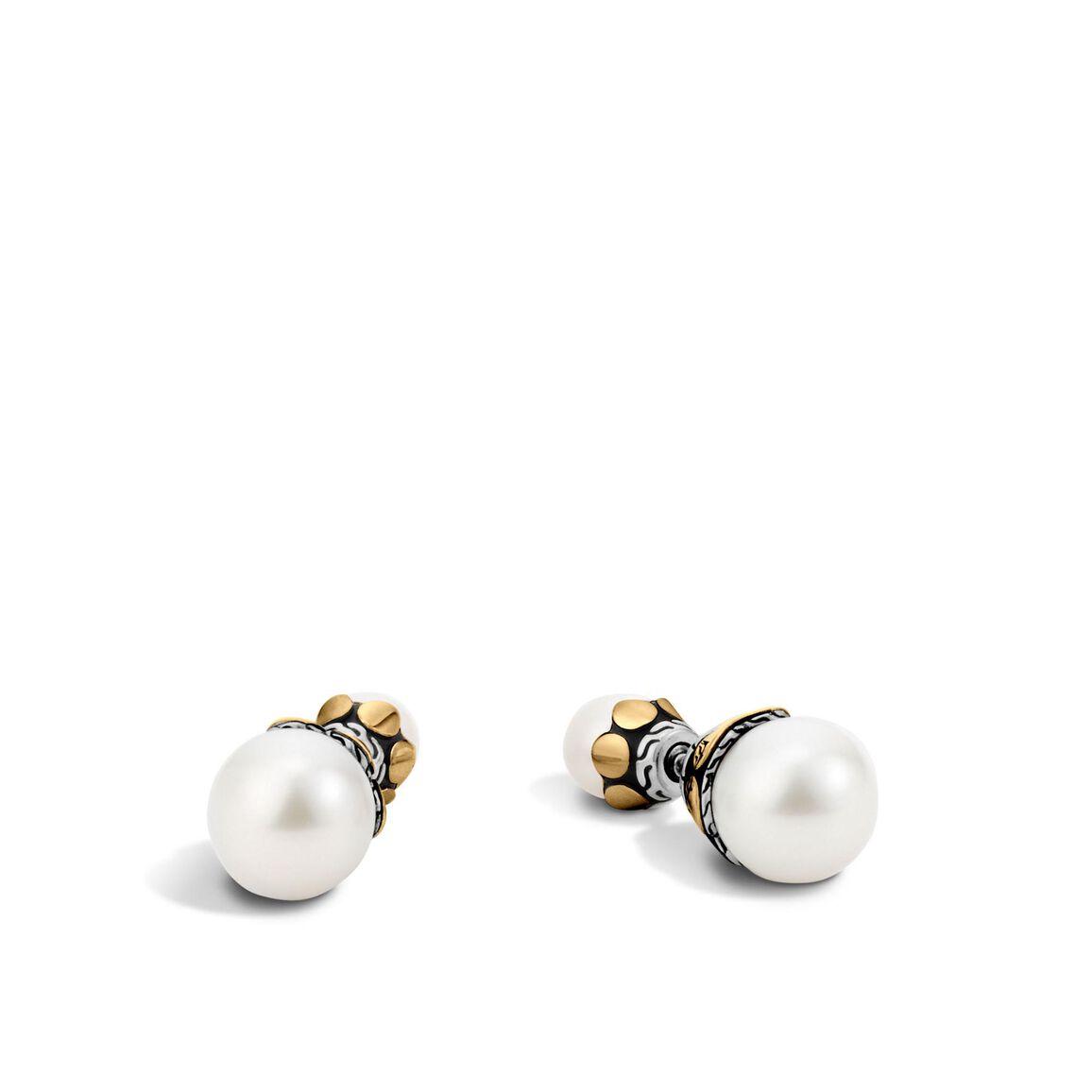 Dot Reversible Stud Earring, Silver, 18K Gold, 7MM Pearl