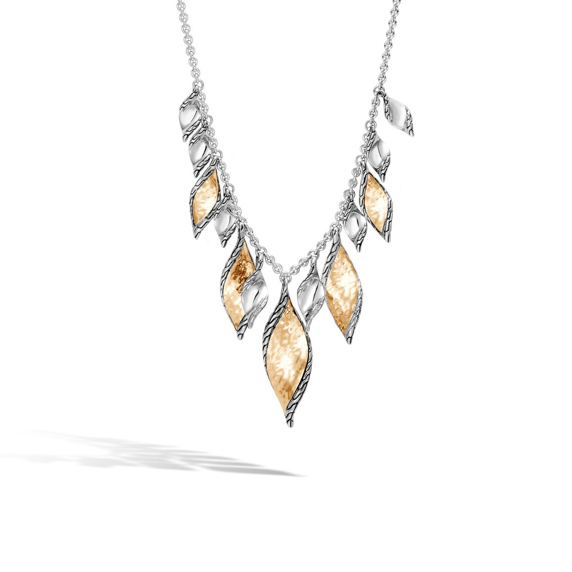 Classic Chain Wave Necklace in Silver and Hammered 18K Gold