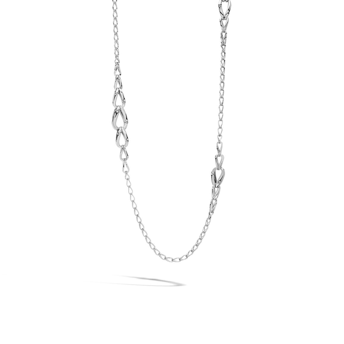 Bamboo 14MM Graduated Link Necklace in Silver