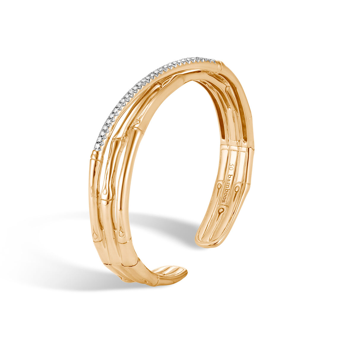 Bamboo Cuff in 18K Gold with  Diamonds