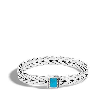 Modern Chain 9MM Bracelet in Silver with Gemstone
