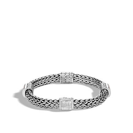 Classic Chain 7.5MM Hammered Station Bracelet in Silver