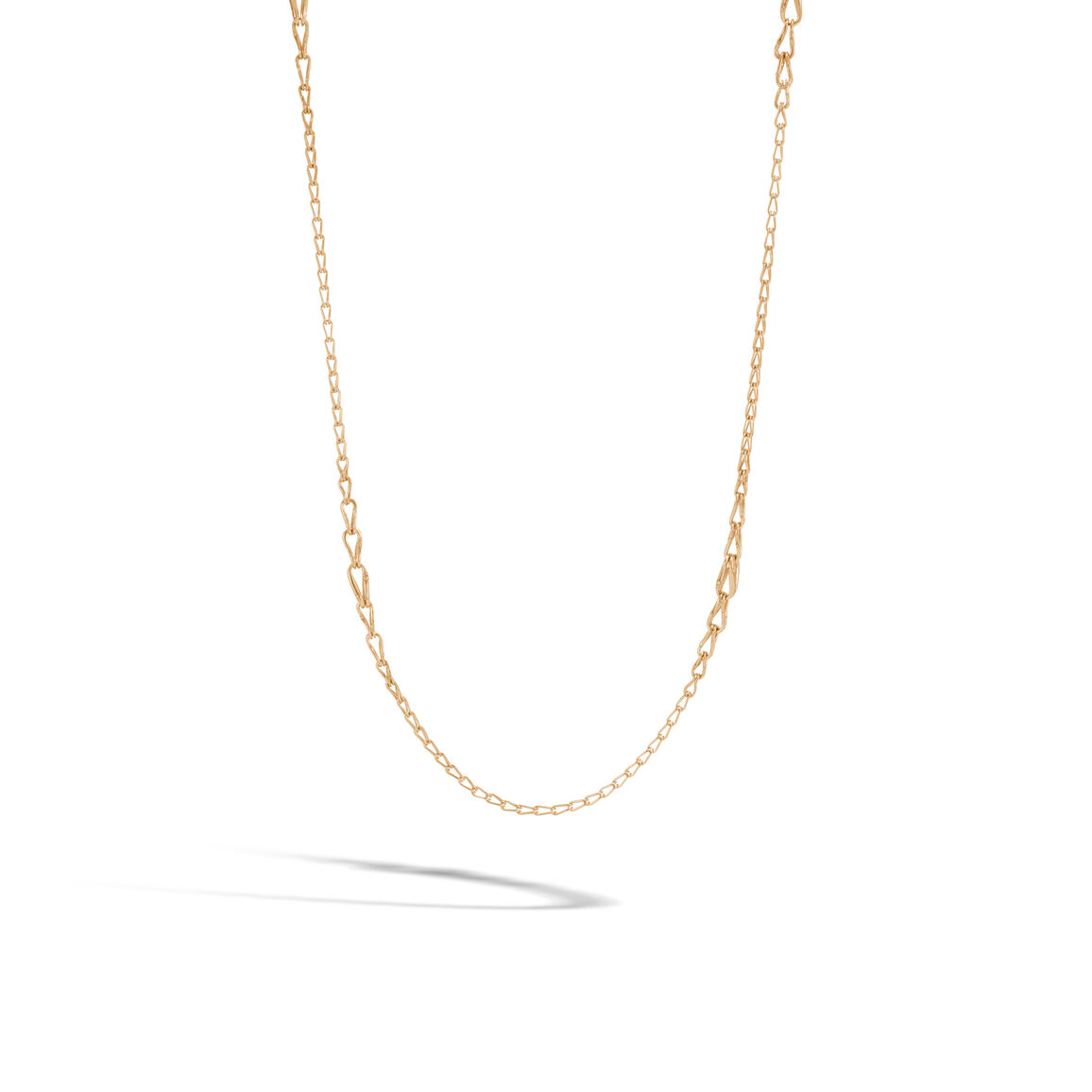 Bamboo 6MM Graduated Link Necklace in18K Gold
