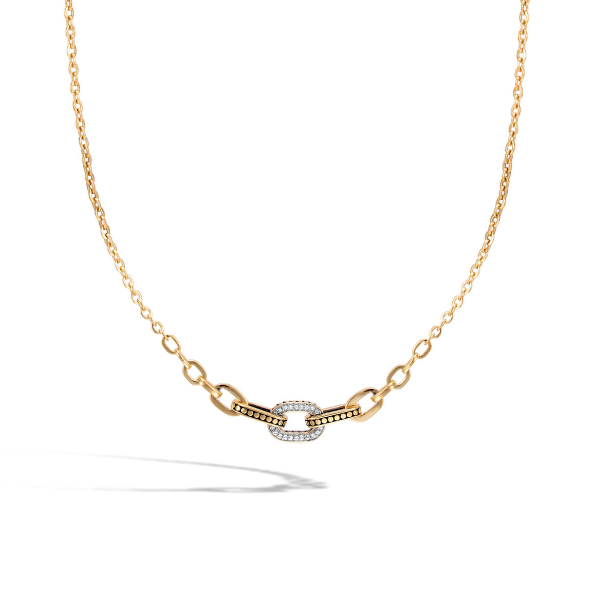 Dot Graduated Link Necklace in 18K Gold with Diamonds