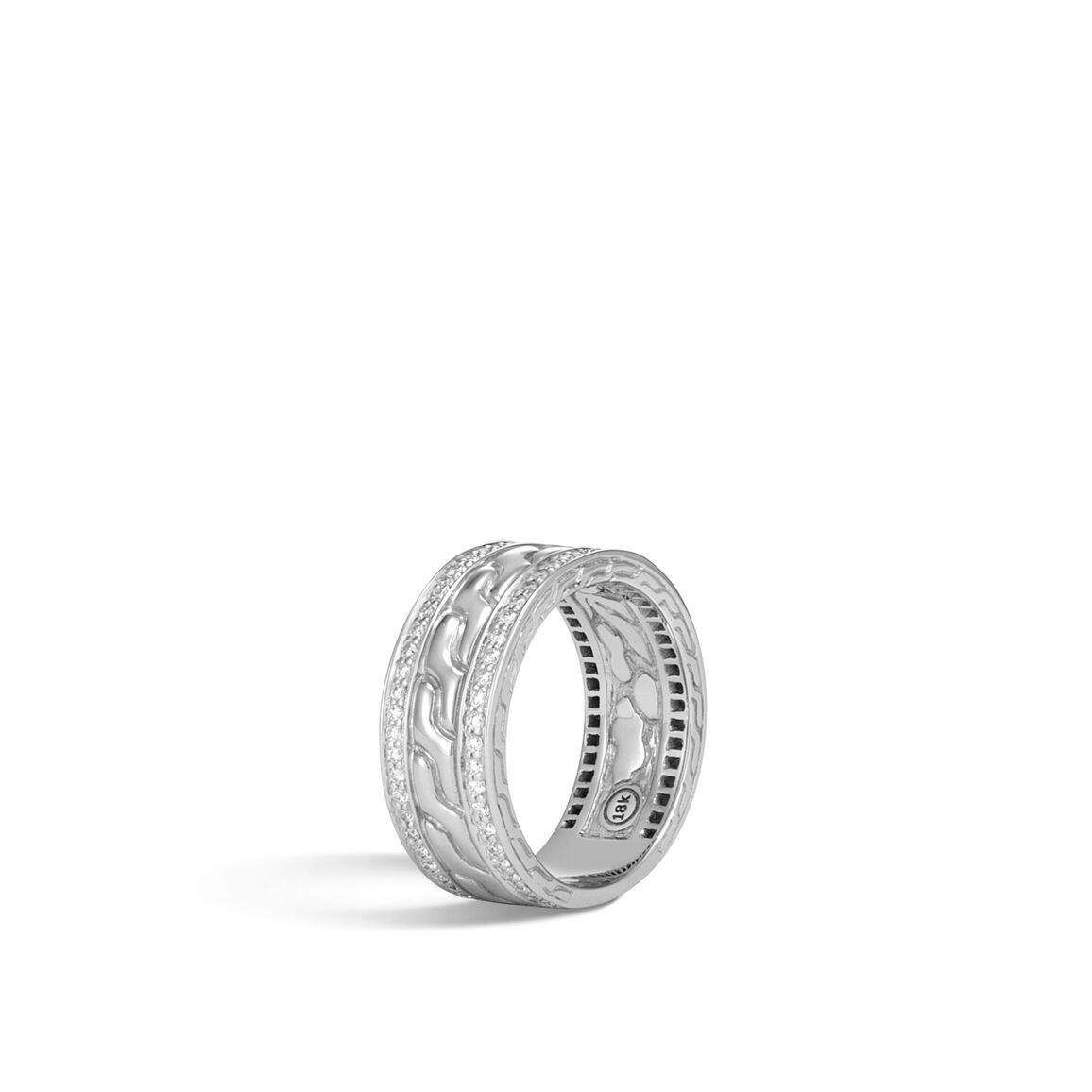 Classic Chain 9MM Band Ring in White 18K Gold with Diamonds