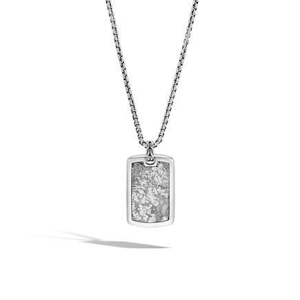 Classic Chain Large Dog Tag Pendant, Silver with Gemstone