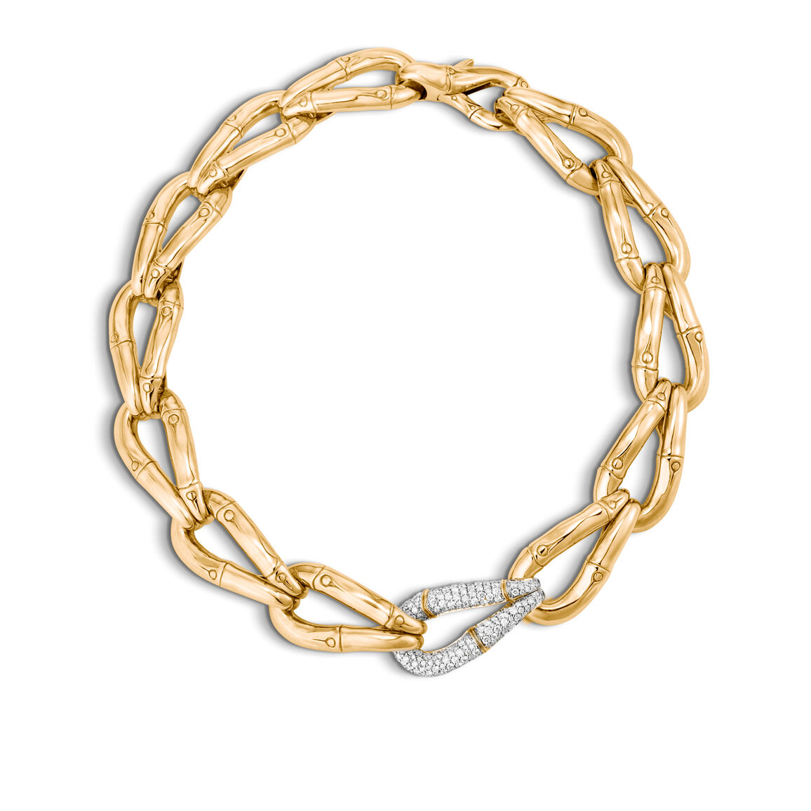 Bamboo 23MM Link Necklace in 18K Gold with Diamonds