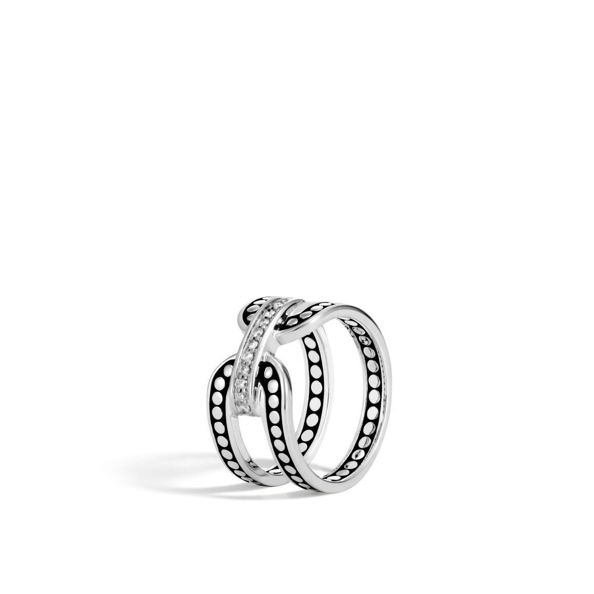 Dot 10.5MM Band Ring in Silver with Diamonds