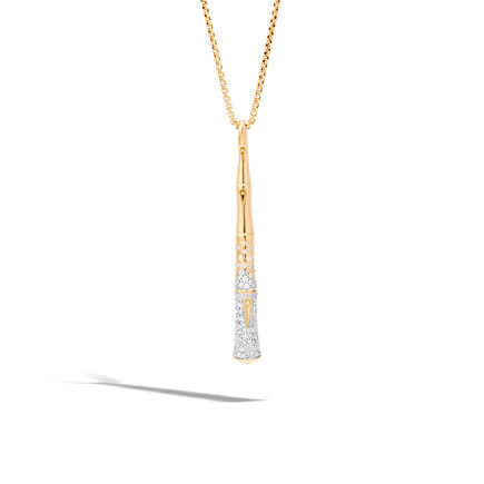 Bamboo Pendant in 18K Gold and Diamonds