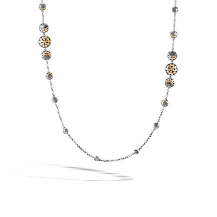 Dot Moon Phase Station Necklace, Black Hammered Silver, 18K
