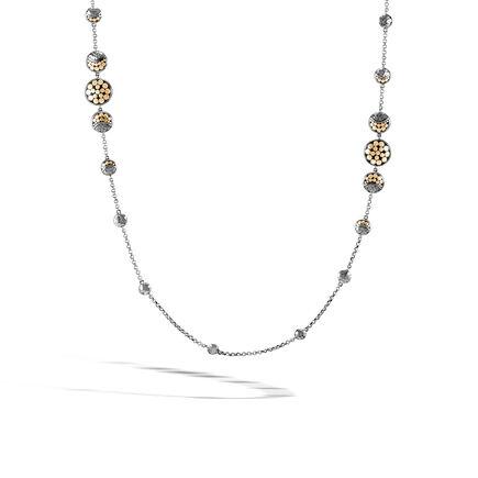 Dot Moon Phase Station Necklace, Black Hammered Silver, 18K