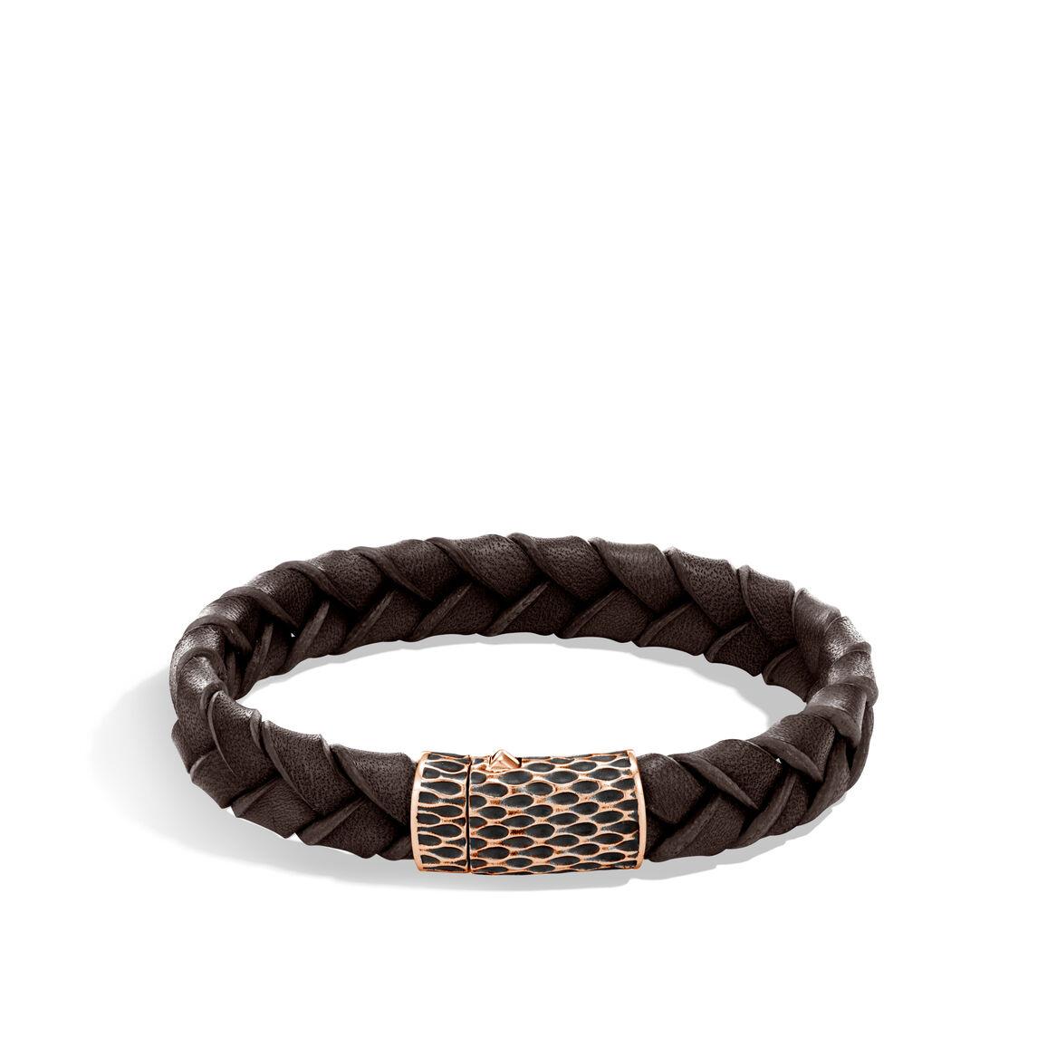 Legends Naga 12MM Station Bracelet, Bronze and Leather