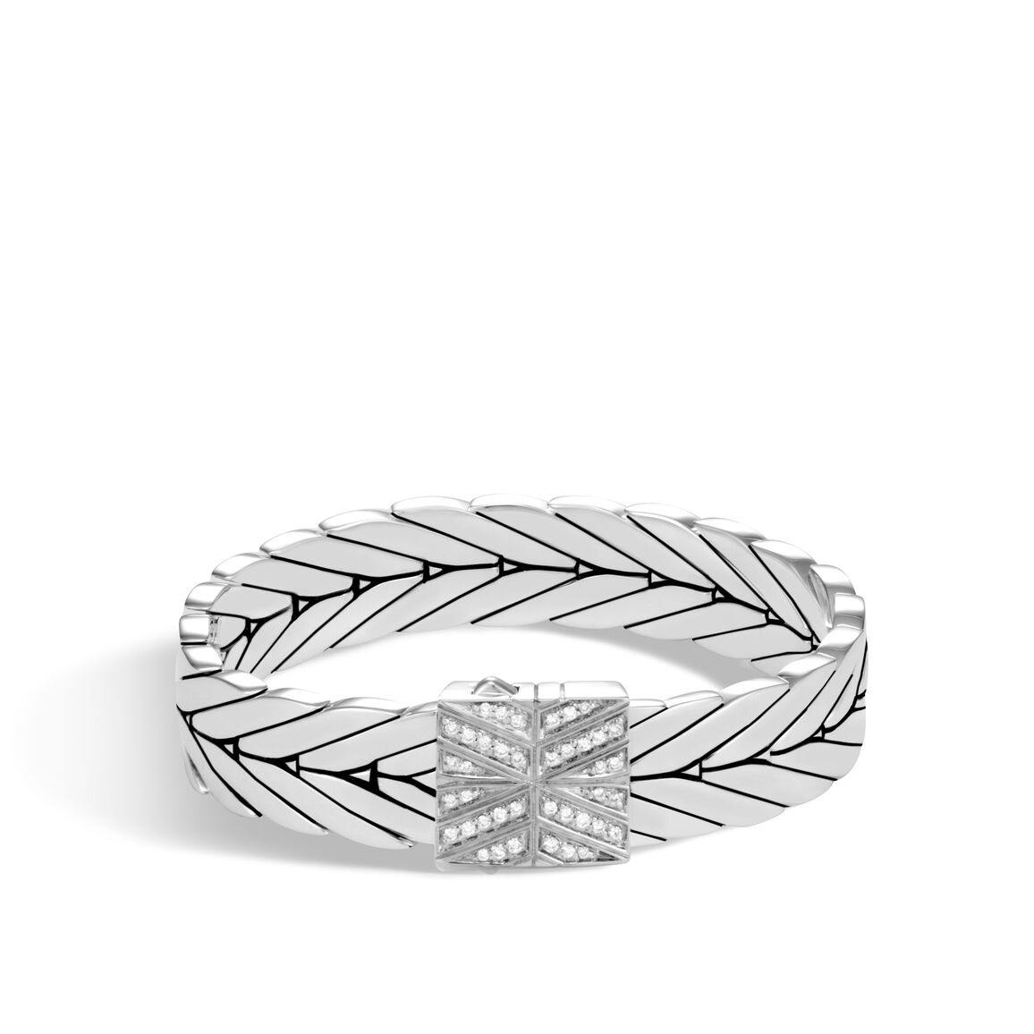 Modern Chain 13MM Bracelet in Silver with Diamonds