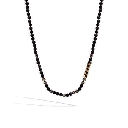 Chain Jawan Bead Necklace in Silver, 18K Gold with Gemstone