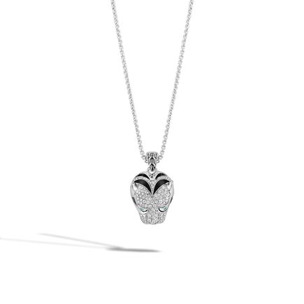 Legends Macan Pendant Necklace in Silver with Diamonds