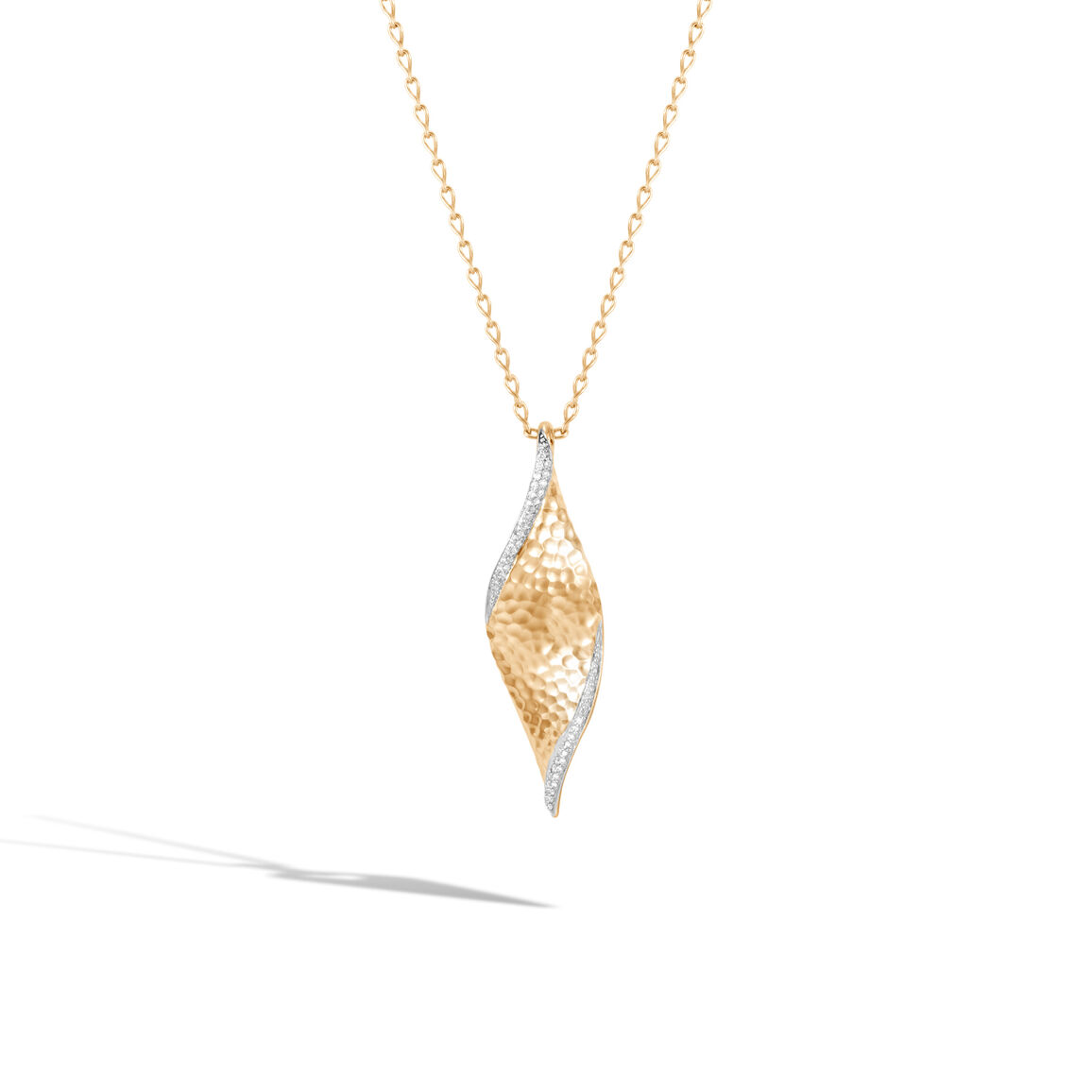 Classic Chain Wave Pendant Necklace, Hammered 18K, Diamonds