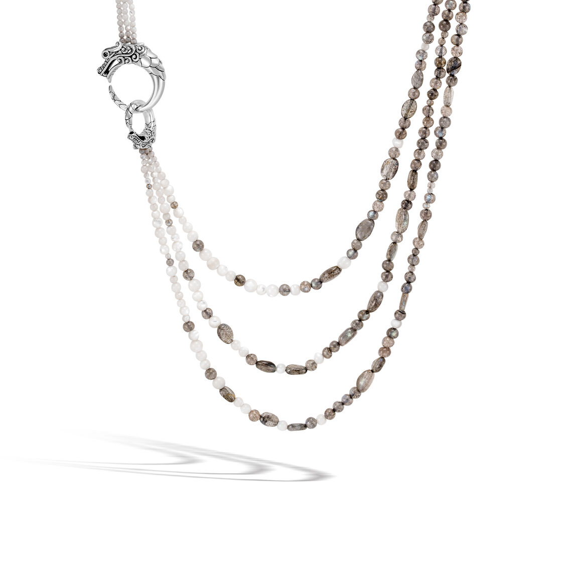 Legends Naga Multi Row Necklace in Silver with Gemstone