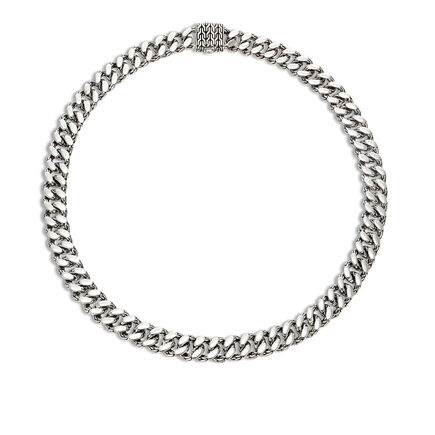Classic Chain 11MM Curb Link Necklace in Silver