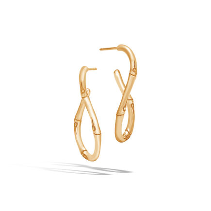 Bamboo Medium Twisted Hoop Earring in 18K Gold