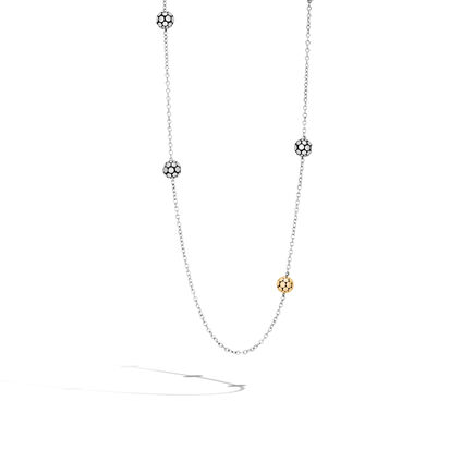 Dot 4MM Station Necklace in Silver and 18K Gold