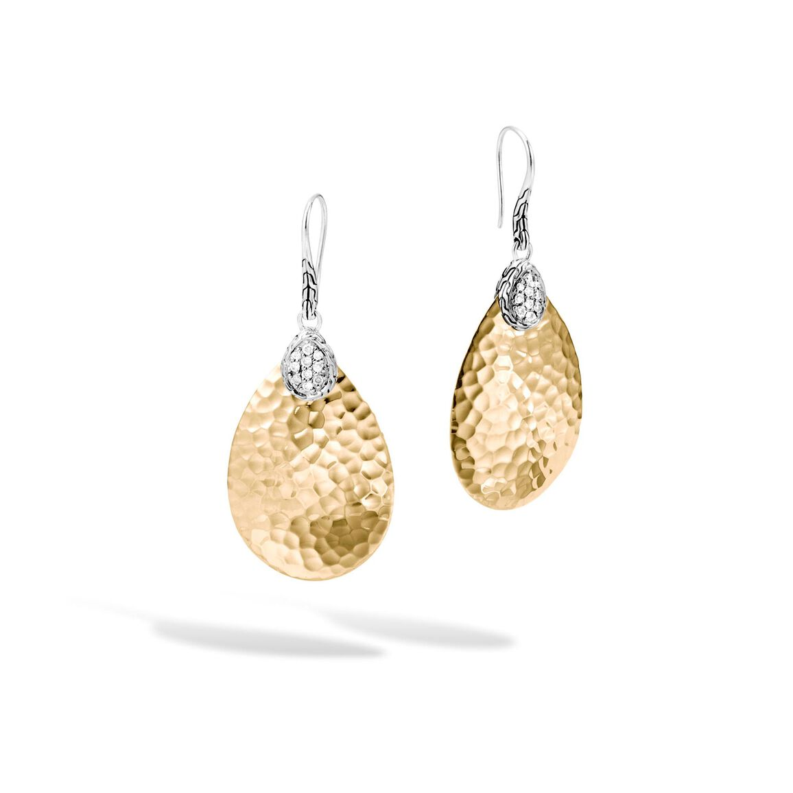 Classic Chain SM Drop Earring, Silver, Hammered 18K, Diamond