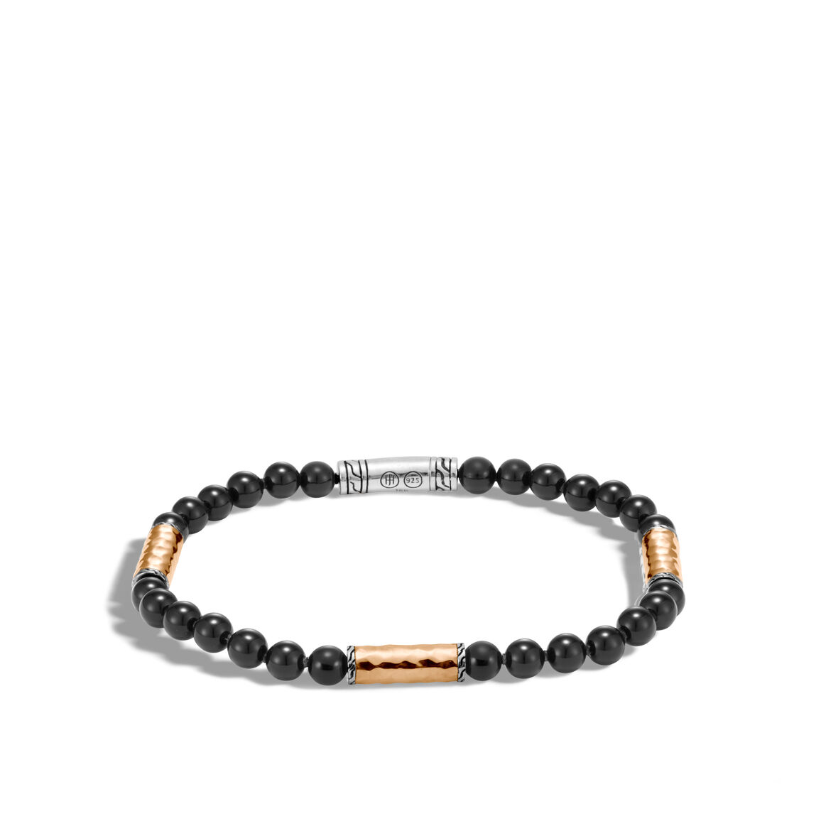 Classic Chain Bead Bracelet in Hammered 18K Gold and Silver