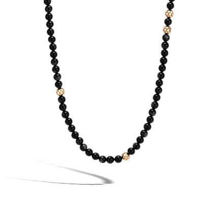Dot Bead Necklace in Silver and 18K Gold with Gemstone