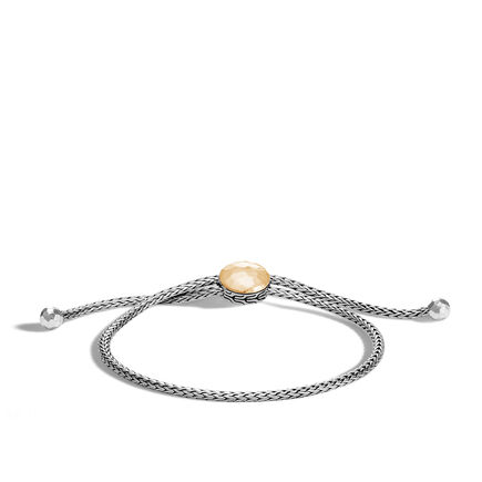 Classic Chain Pull Through Bracelet, Silver, Hammered Gold