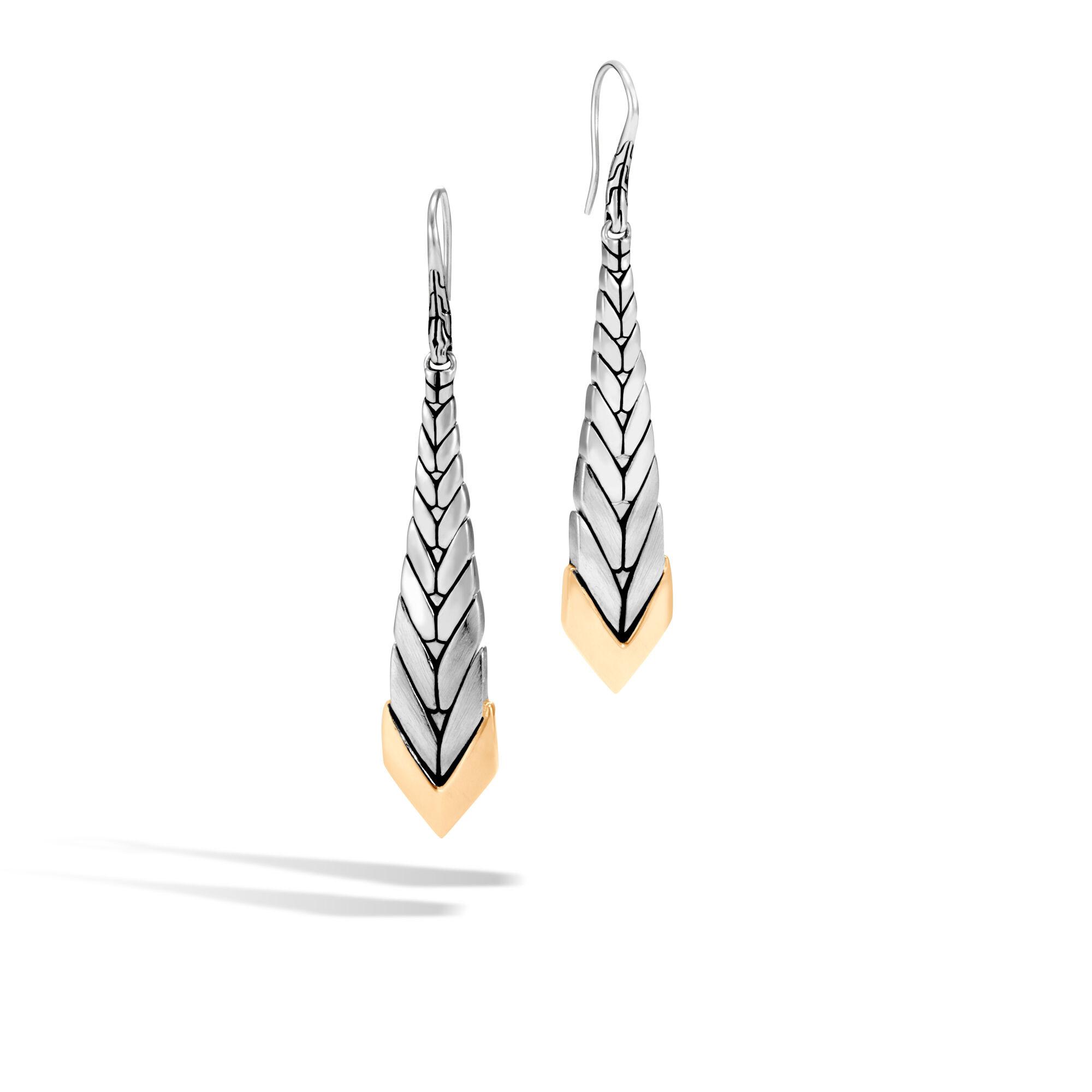 John Hardy Modern Chain 18K Gold & Silver Long Drop Earrings F8Nla