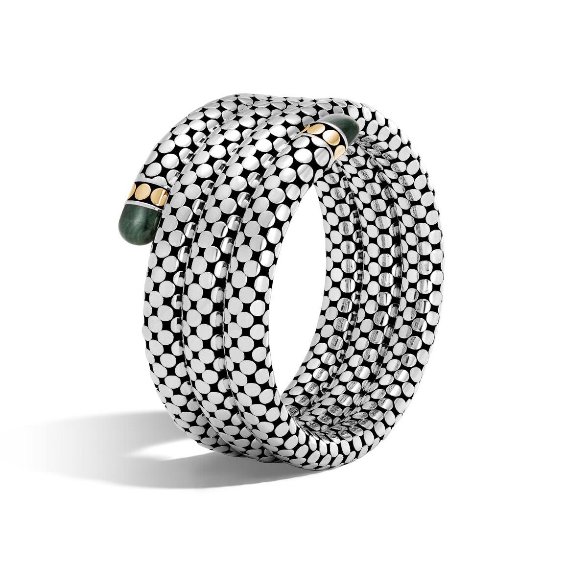 Dot Triple Coil Bracelet in Silver and 18K Gold, Gemstone