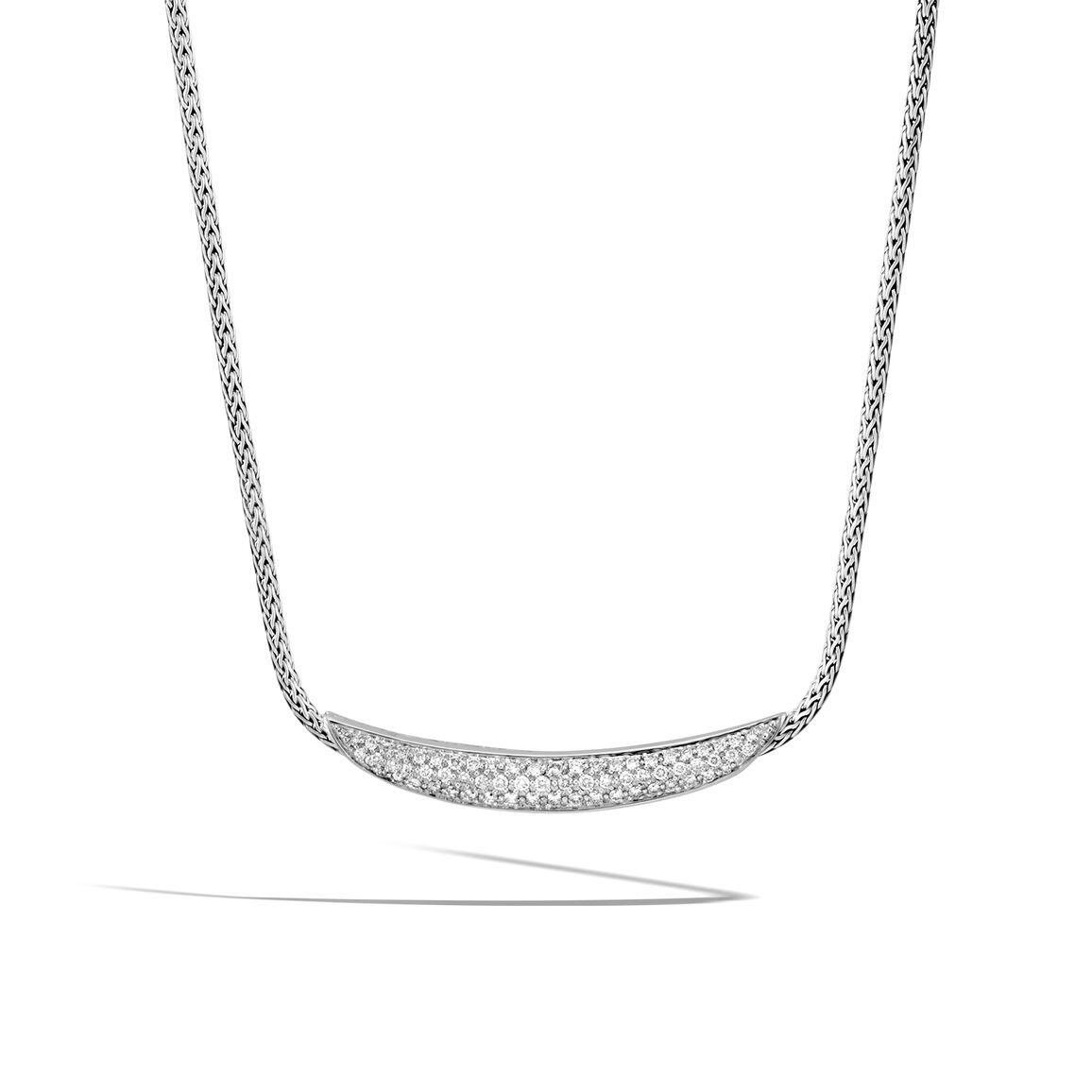Classic Chain Necklace in Silver with Diamonds