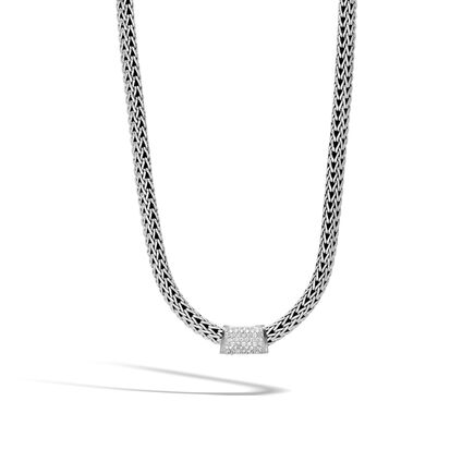 Classic Chain Pendant in Silver with Diamonds