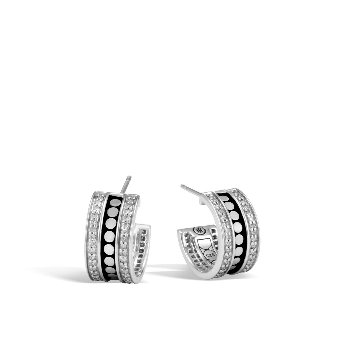 Dot Hoop Earring in Silver with Diamonds